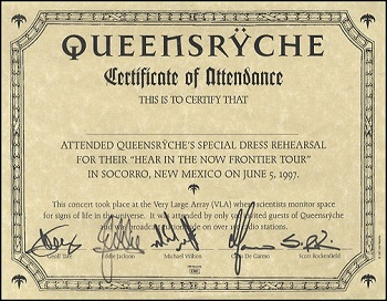 Certificate of Authenticity fans received at the VLA show.
